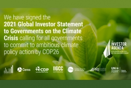 Quote: We have signed the 2021 Global Investor Statement to Governments on the Climate Crisis calling for all governments to commit to ambitious climate policy action by COP26.