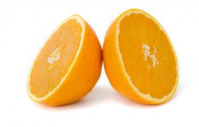 Orange in two halfs