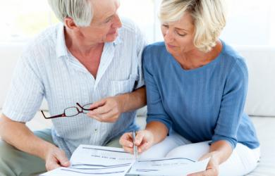 Couple reviewing their pension